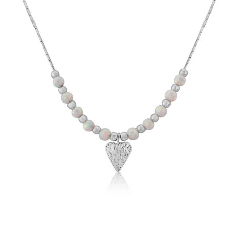 Silver Heart and White Opal Necklace | Image 1