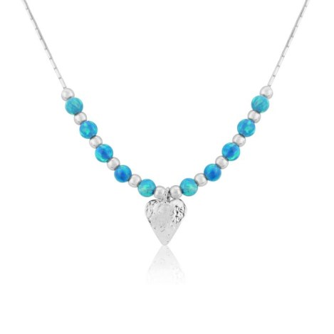 Silver Heart and Opal Necklace | Image 1