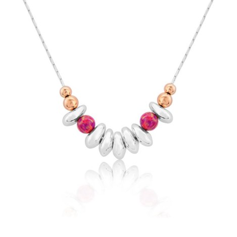 Rose Gold and Silver Nugget Necklace With Red Opals | Image 1