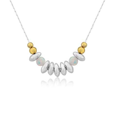Gold and Silver White Opal Nugget Necklace | Image 1