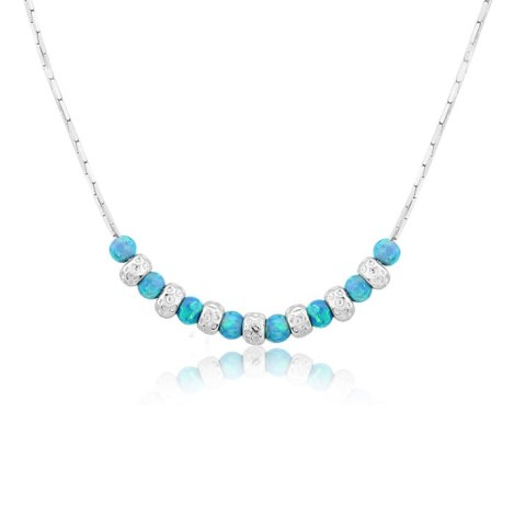 Silver and Aqua Opal Necklace | Image 1