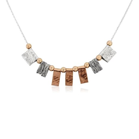 Rose Gold And Silver Hammered Necklace | Image 1