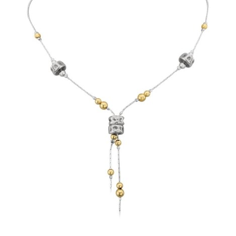 Gold and Silver Crossover Oxidised Necklace | Image 1