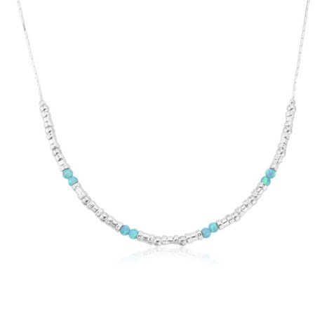 Handmade Silver and Aqua Opal Necklace | Image 1