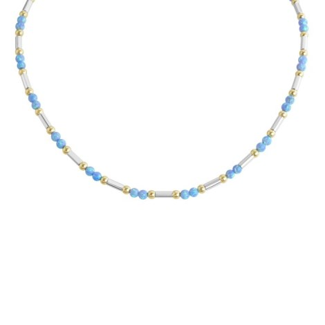 Gold and Silver  Blue Opal Necklace | Image 1
