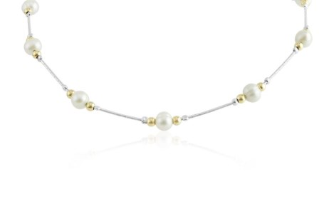 Gold and silver pearl necklace | Image 1