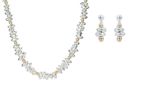 Gold & Silver Nugget Necklace and Earring Gift Set. Save £35 | Image 1