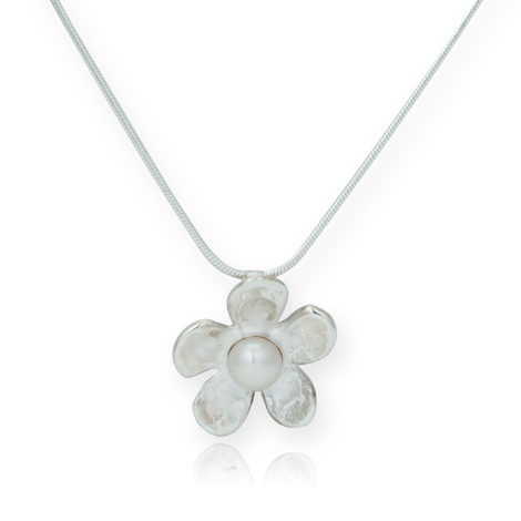 Sterling Silver Hammered Daisy Fresh Water Pearl Pendant | Image 1