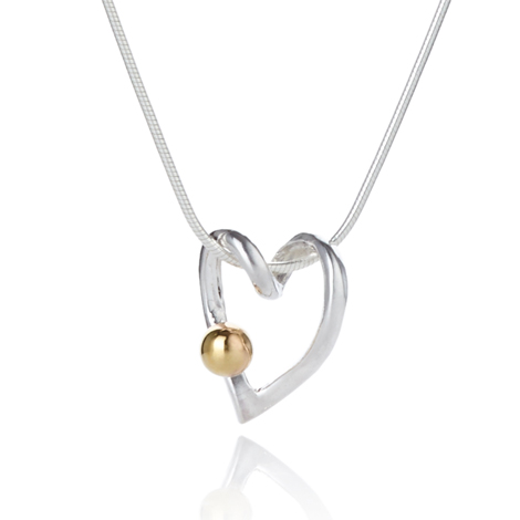 Gold and Silver Heart Pendant | Image 1