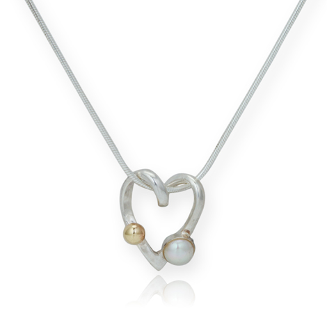 Gold and Silver Pearl and Heart Pendant | Image 1