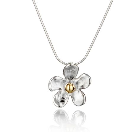 Gold and Silver Daisy Hammered Pendant | Image 1