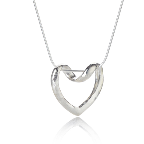 Sterling Silver Hammered Heart Pendant | Image 1