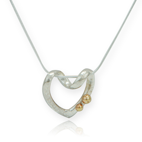 Gold and Silver Twist Heart Pendant WAS £145.00 NOW £99.00 | Image 1
