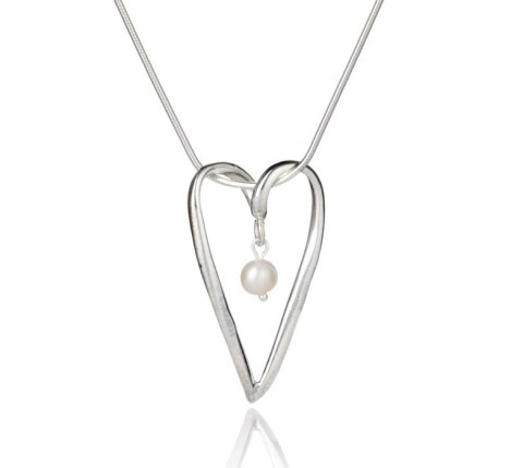 Handmade Silver and Pearl Heart Pendant | Image 1