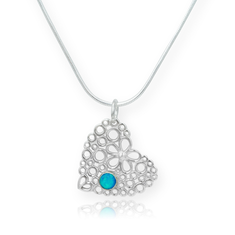 Opal Heart and Flower Pendant WAS £85.00 NOW £59.00 | Image 1