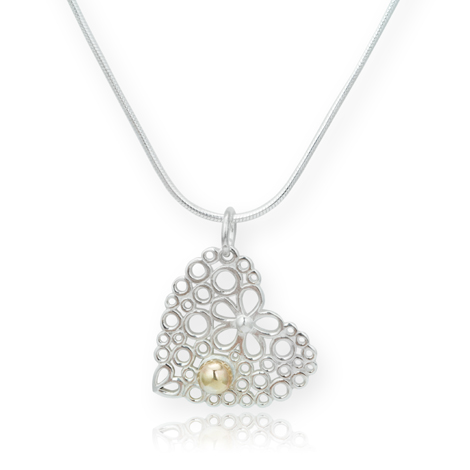Sterling Silver and 9ct Gold Heart Pendant  was £95.00 NOW £59.00 | Image 1