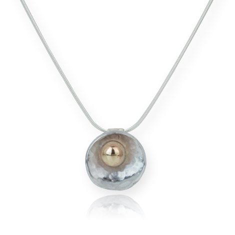 Sterling Silver and 9ct Gold Oyster Pendant WAS £85.00 NOW £75.00 | Image 1