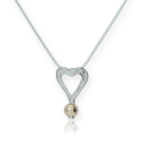 Silver and Gold Heart Pendant | Image 1