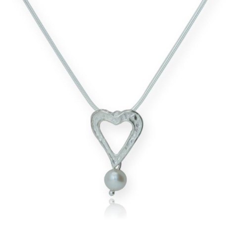 Silver and Pearl Heart Pendant WAS £49.00 NOW £39.00 | Image 1