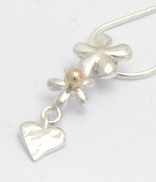 Silver and Gold Heart and Flowers Pendant | Image 1