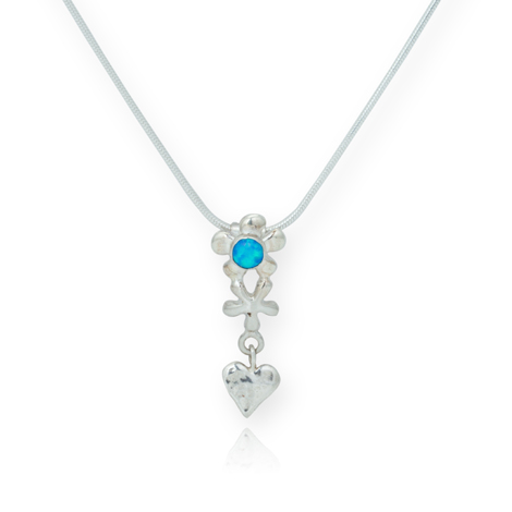 Silver Heart and Flower Opal Pendant | Image 1
