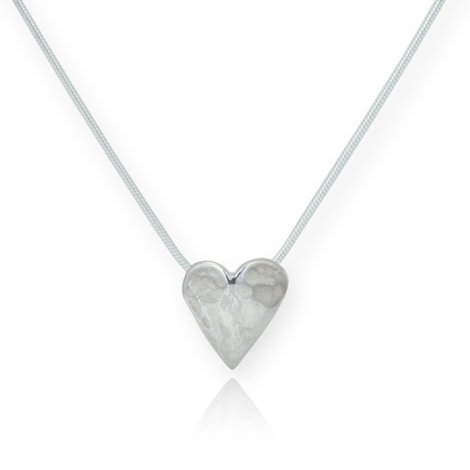 Silver Hammered Heart Pendant | Image 1