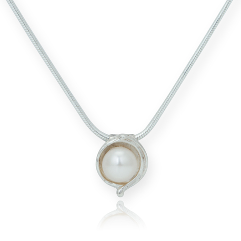 Silver and White Pearl Pendant | Image 1