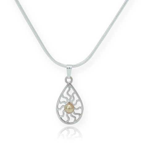 Silver and Gold Teardrop Pendant WAS £65.00 NOW £50.00 | Image 1