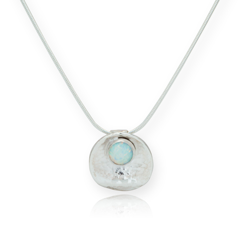 Handmade Oyster and White Opal and Silver Pendant | Image 1