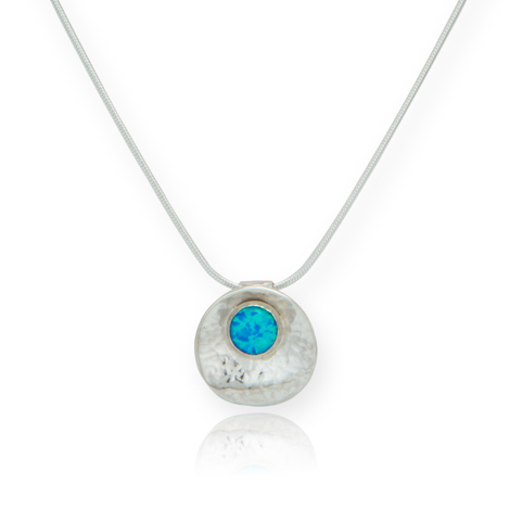 Oyster Blue Opal and Silver Pendant UK Handmade | Image 1