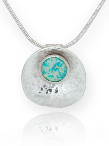 Oyster and Green Opal Silver Pendant | Image 1