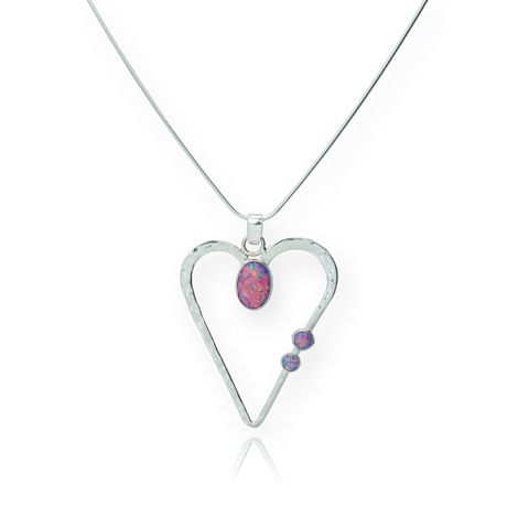 Silver Heart and Purple Opal Pendant  | Image 1