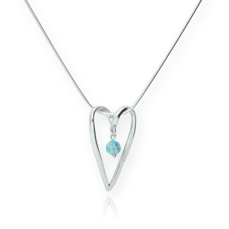Sterling Silver Heart Pendant with Green Opal | Image 1