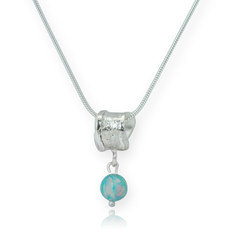 Sterling Silver Hoop Pendant with Green Opal WAS £55.00 NOW £45.00 | Image 1