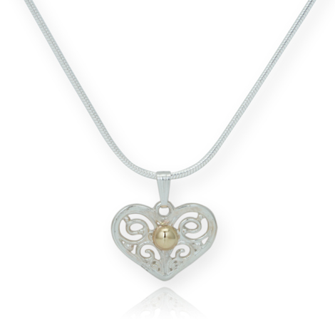 Gold and Silver Filigree Heart Pendant | Image 1