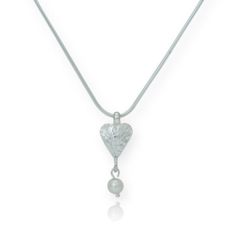 Sterling Silver Etched Heart and Opal Pendant | Image 1