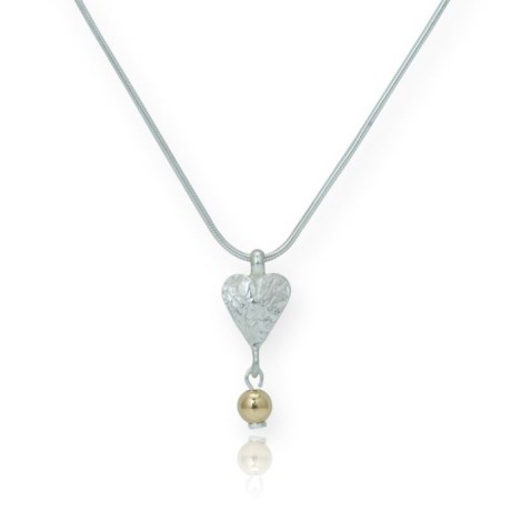 Gold and Silver Etched Heart Pendant | Image 1