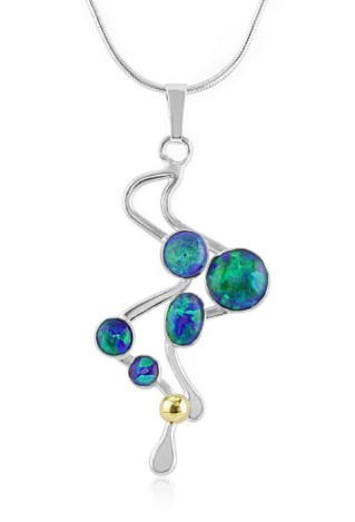 Blue Jelly Opal Gold and SIlver Pendant UK Made | Image 1