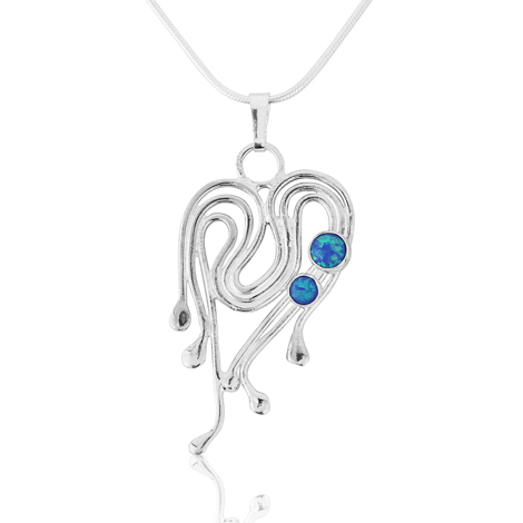 Silver and Opal Heart Pendant | Image 1