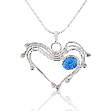 Silver and Oval Opal Heart Pendant  | Image 1