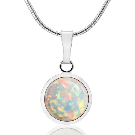 10mm Silver Green Opal Pendant | Image 1