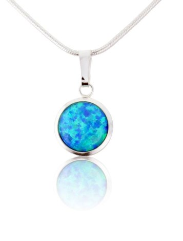 Silver and 10mm Blue Opal Pendant | Image 1