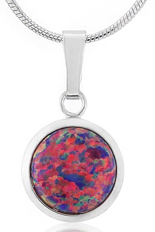 10mm Silver Purple Opal Pendant | Image 1