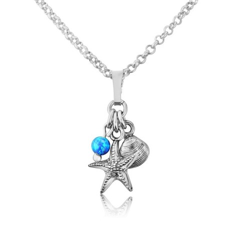 Silver Starfish and Shell Opal Pendant | Image 1