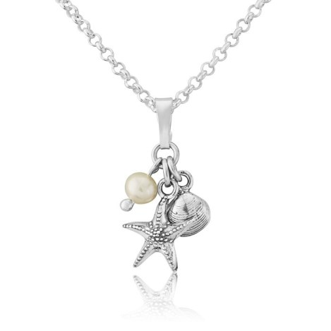 Silver Starfish and Shell Pearl Pendant | Image 1
