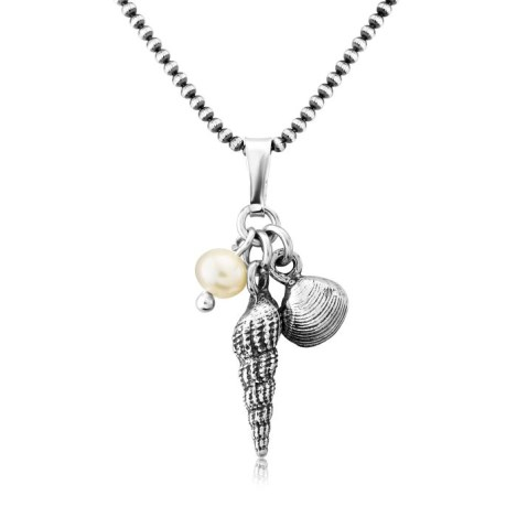 White Pearl Silver Shell Necklace | Image 1