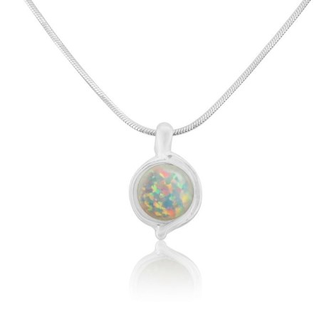 White 8mm Opal and Silver Pendant | Image 1