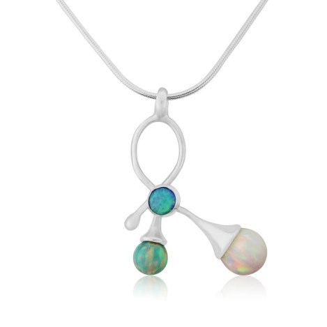 Sterling Silver Contemporary Multistone Opal Pendant | Image 1