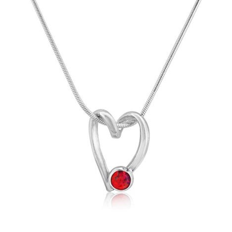 Sterling Silver Open heart and Red Opal Pendant  | Image 1
