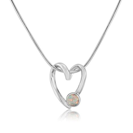 Sterling Silver Open heart and White Opal Pendant  | Image 1